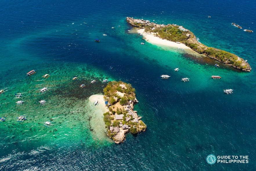 Aerial view of Magic and Crocodile island during the helicopter ride tour