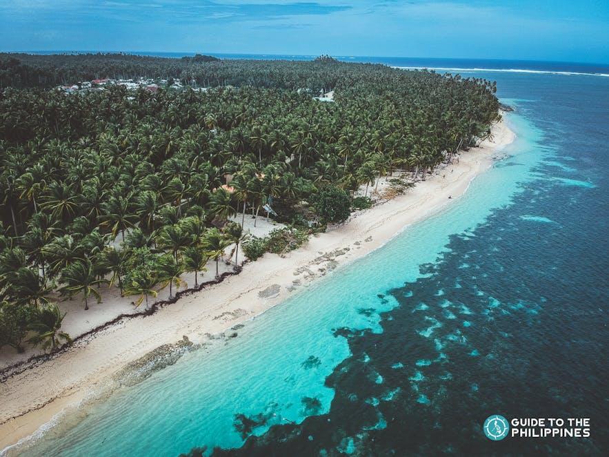Drone shot of the enchanting Alegria beach in Siargao
