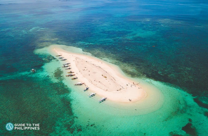 Aerial view of Naked Island in Siargao