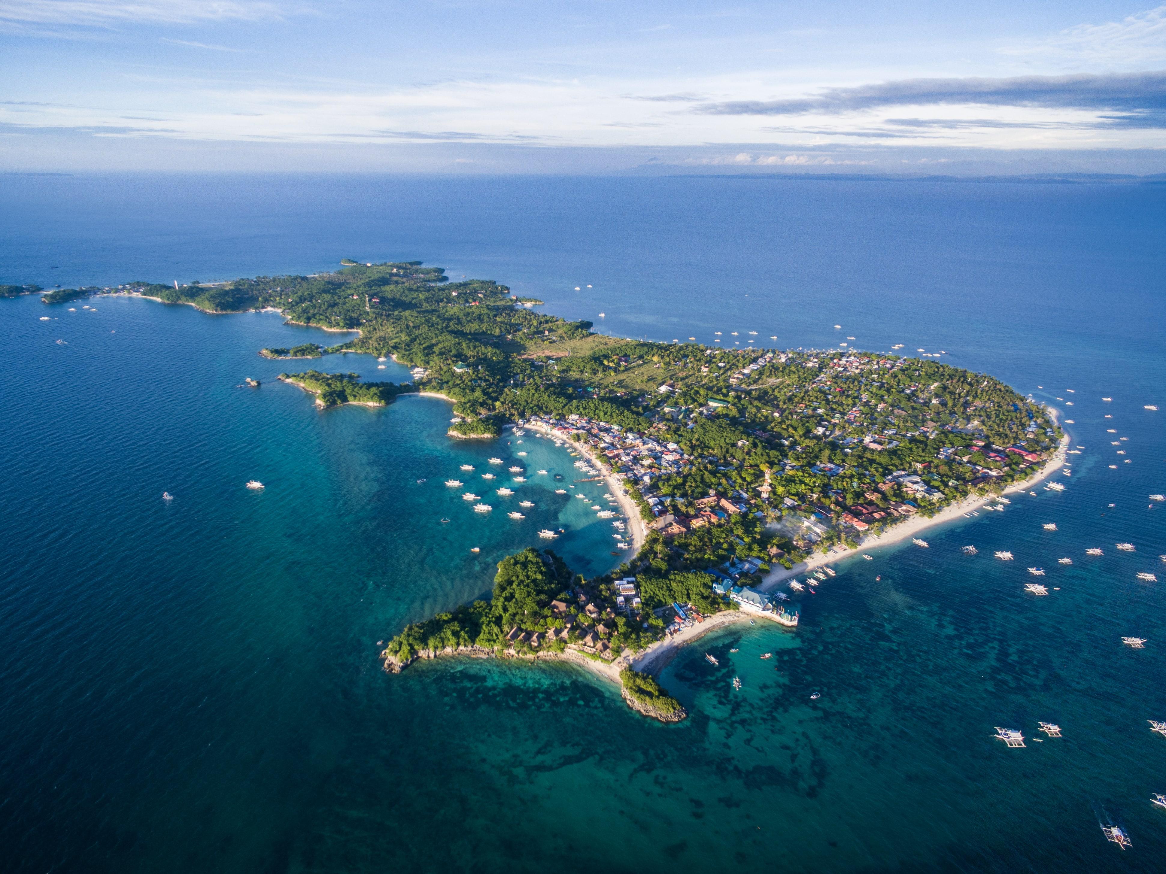 Aerial view of Malapascua Island in Cebu