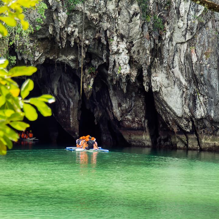 Two boats full of tourists going inside Puerto Princesa Underground River