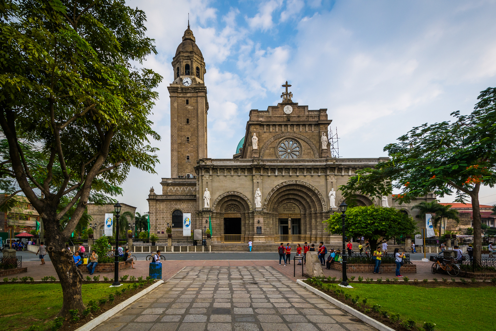 Park in front of Manila Cathedral inside Intramuros