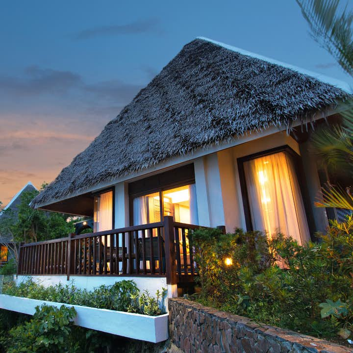 Deluxe Villa in Mithi Resort during sunset