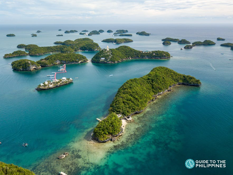 Aerial view of Hundred Islands in Pangasinan
