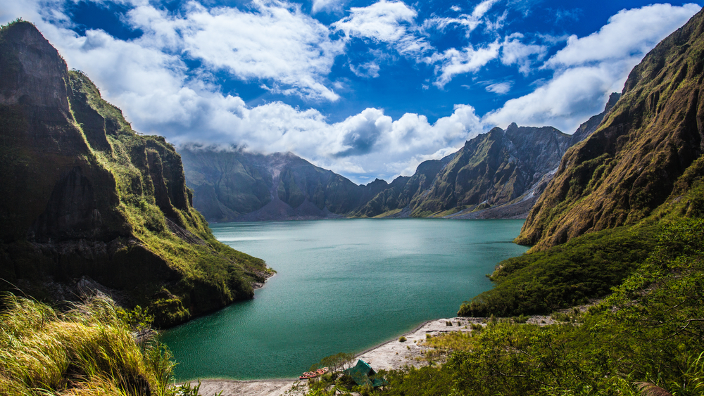 Crater lake of Mount Pinatubo, one of the most popular tourist spots in the Philippines