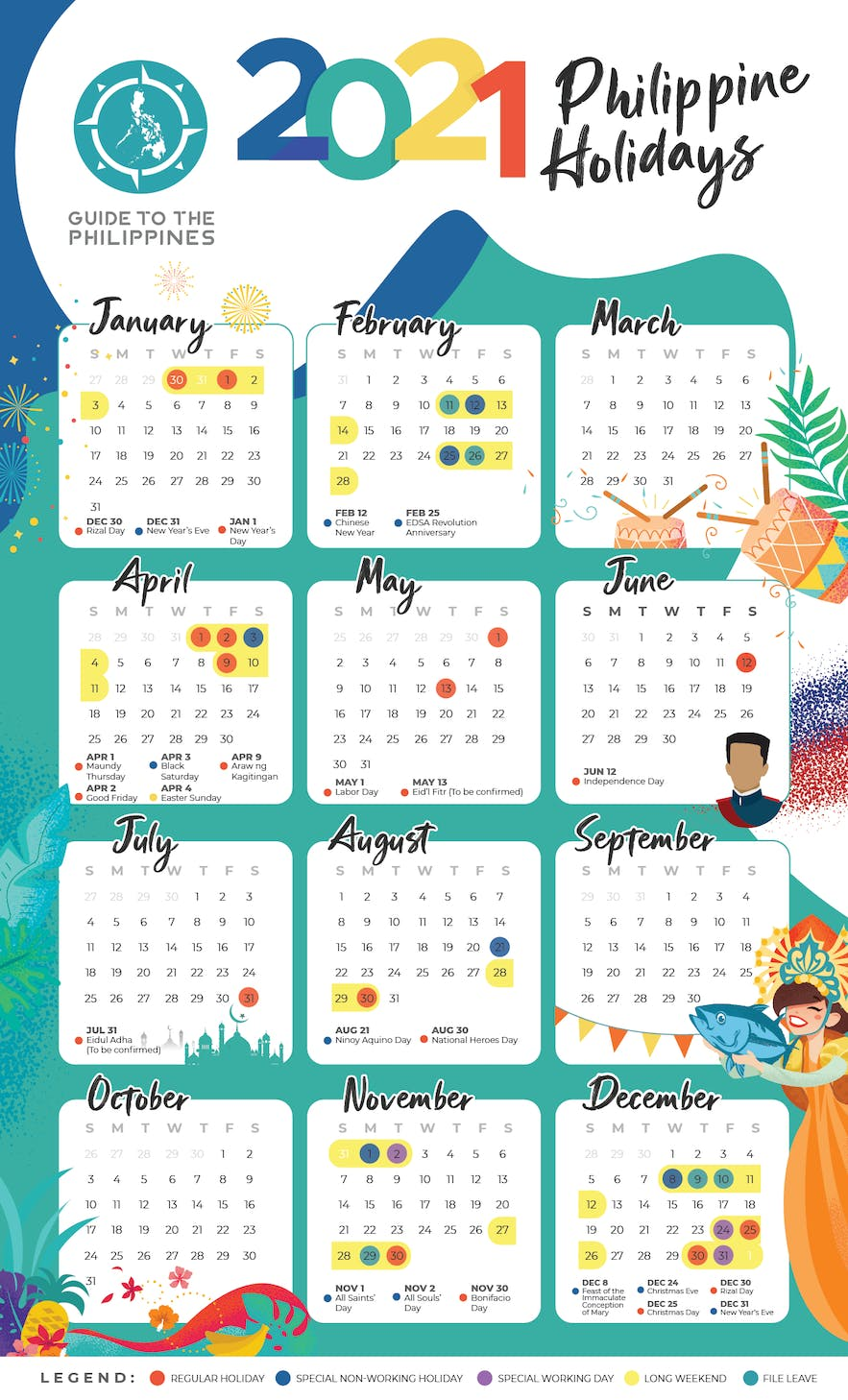2021 holidays and long weekends in the Philippines