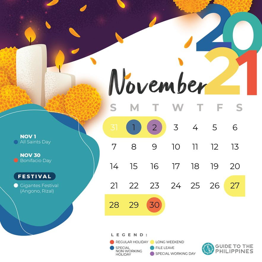 November 2021 holidays and long weekends in the Philippines