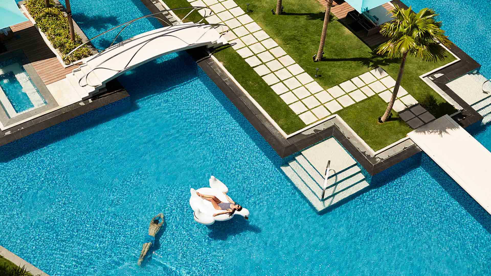 Enjoy the pool area of The Lind