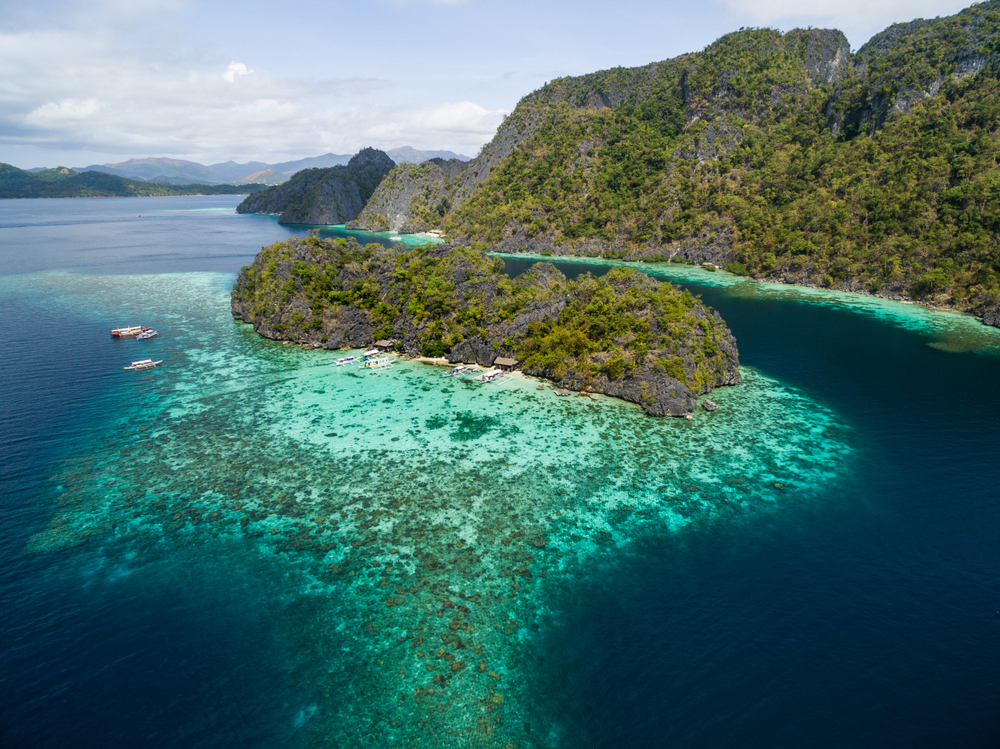 Aerial view of the blue waters of Coral Garden in Coron Palawan