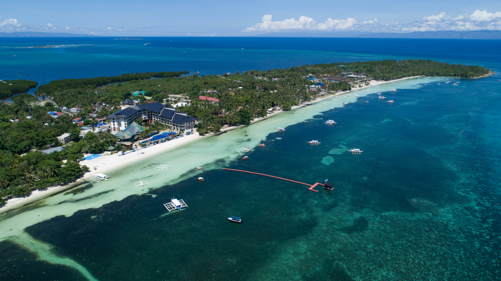 Aerial view of Panglao Island in Bohol