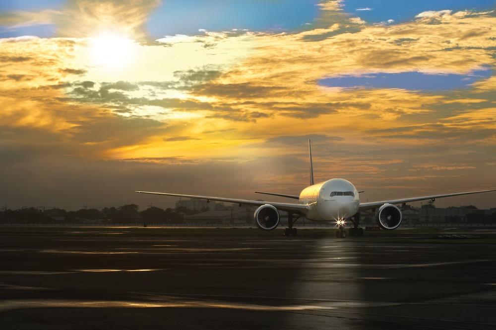 Sunrise over a plane in NAIA