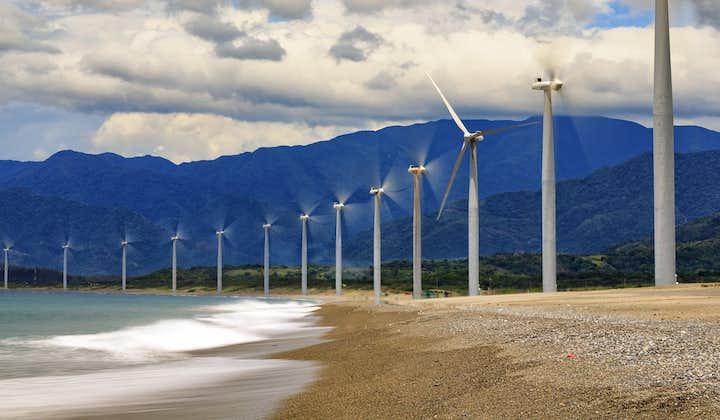 Wind turbines lined up along the coast of Ilocos Norte called Bangui Windmills