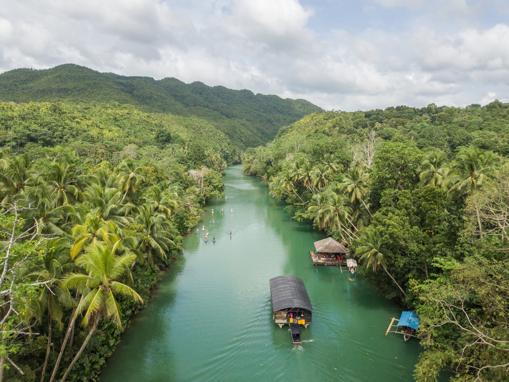 Boats along the Loboc River in Bohol