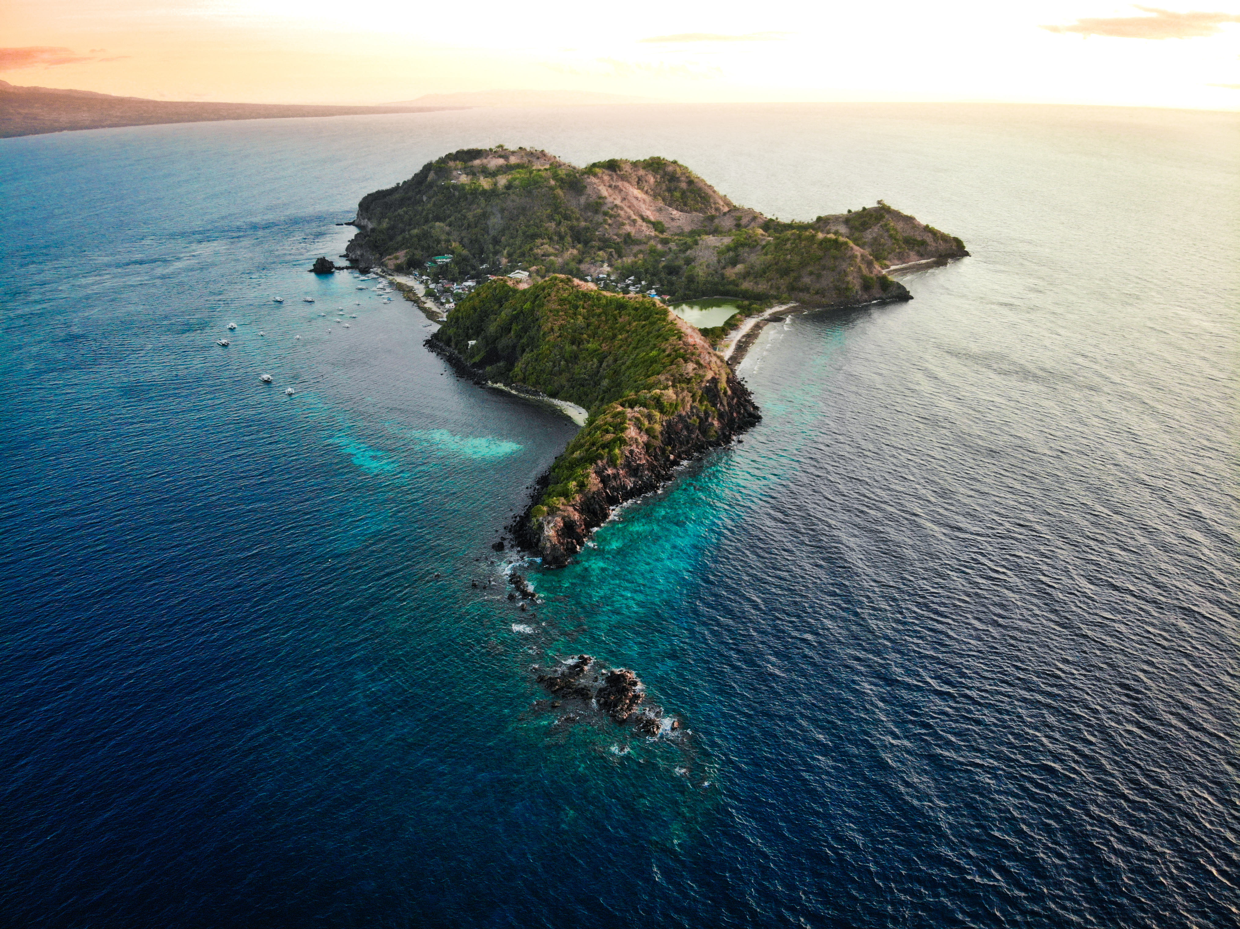 Beautiful aerial view of Apo Island