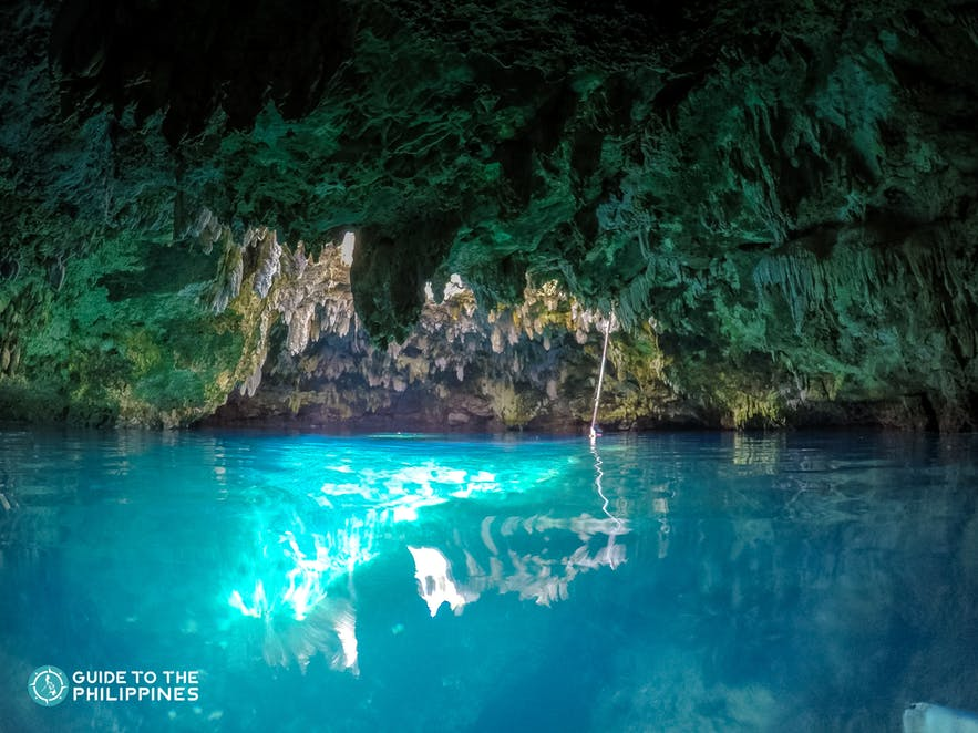 Blue waters of Anda's Cabagnow Cave Pool