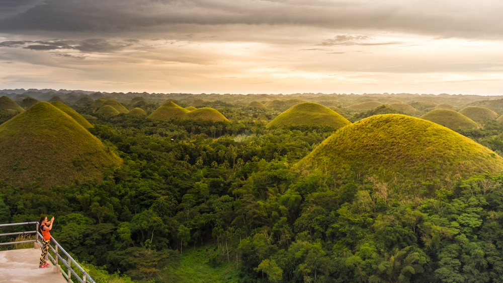 Beautiful view of Chocolate Hills during sunset