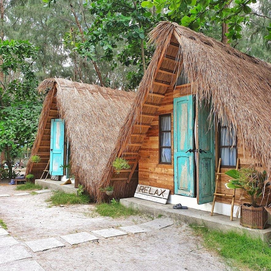 Wooden huts in Kwentong Dagat, Zambales