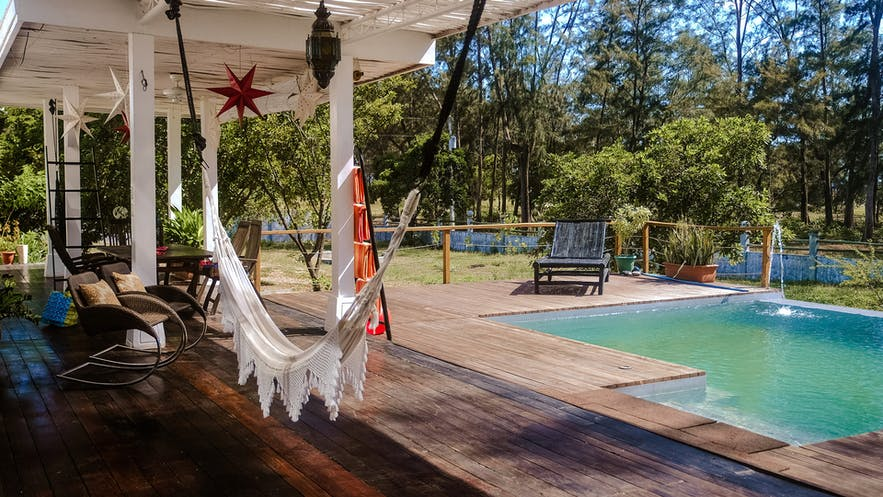 Lounge area and swimming pool at Zambawood