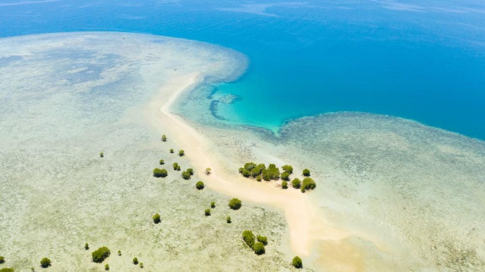 Aerial view of an island in Honda Bay Palawan