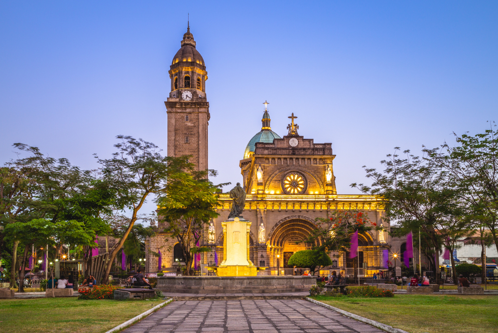 Colorful lights of Manila Cathedral at night