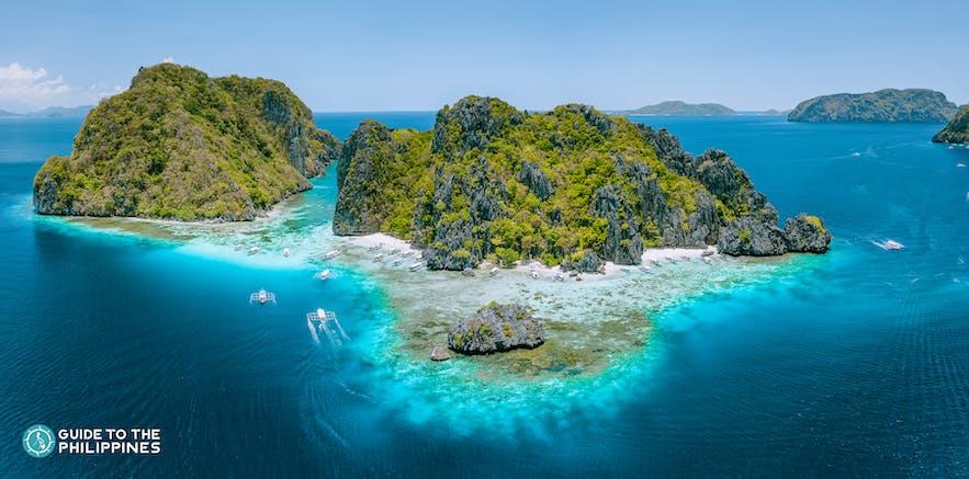 Aerial view of Shimizu Island in Palawan