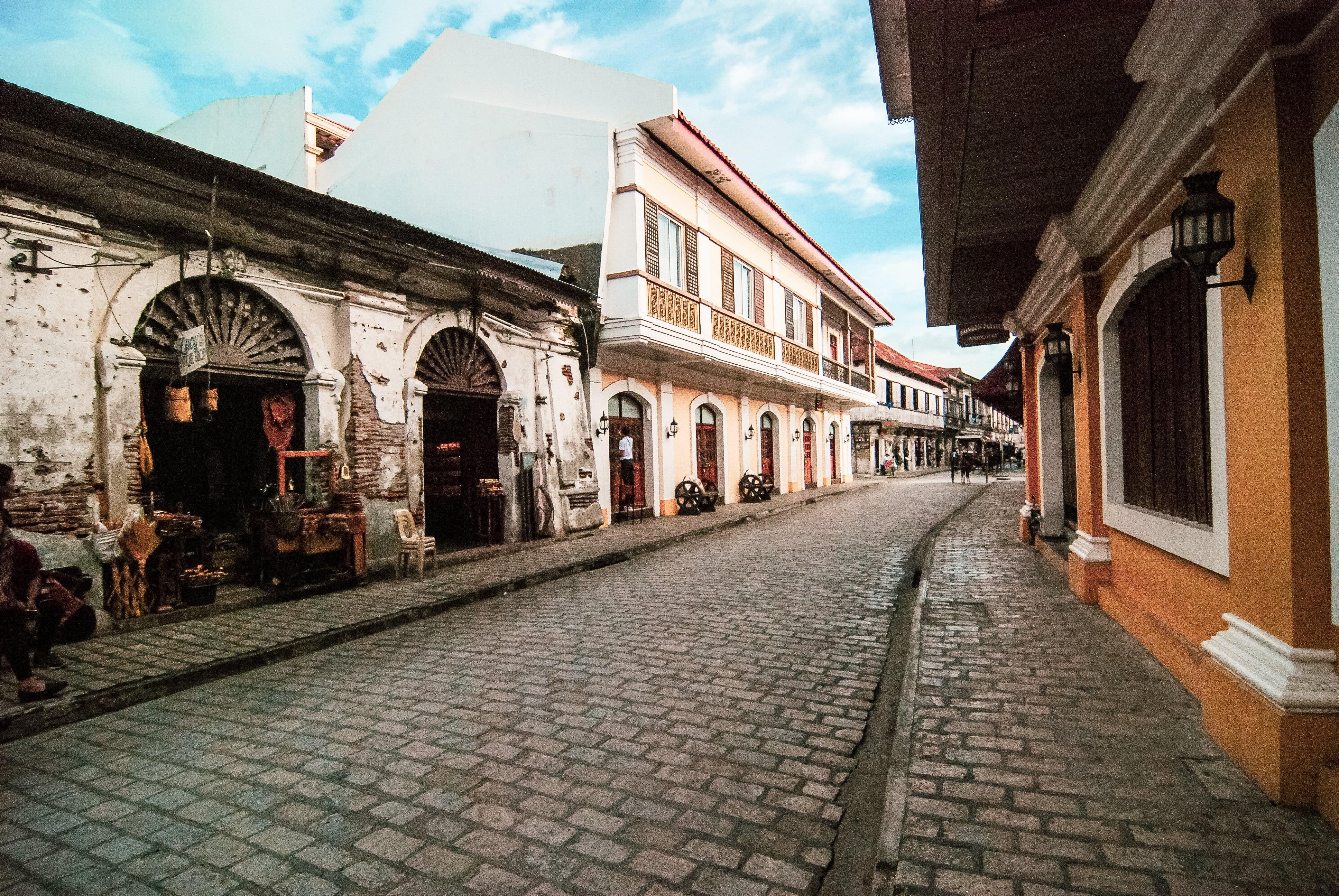 Cobblestone streets of Calle Crisologo in Vigan