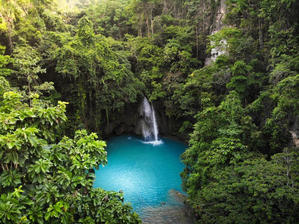 Blue waters of Cebu's popular Kawasan Falls