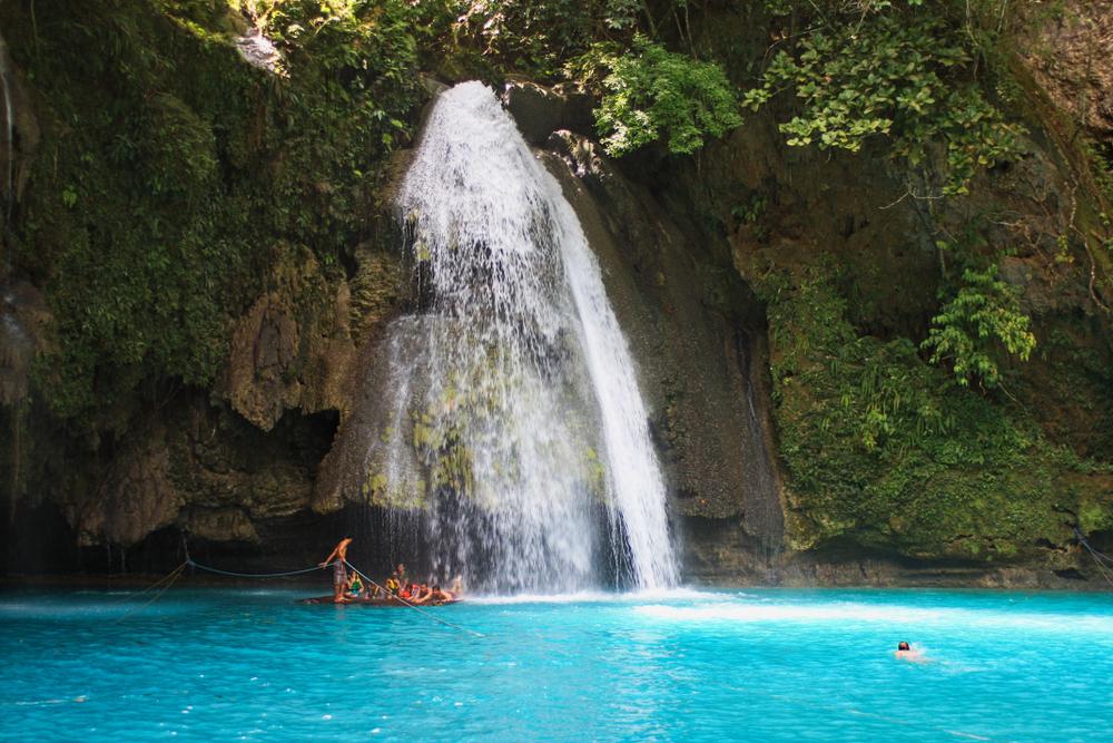 Blue waters of Kawasan Falls in Cebu