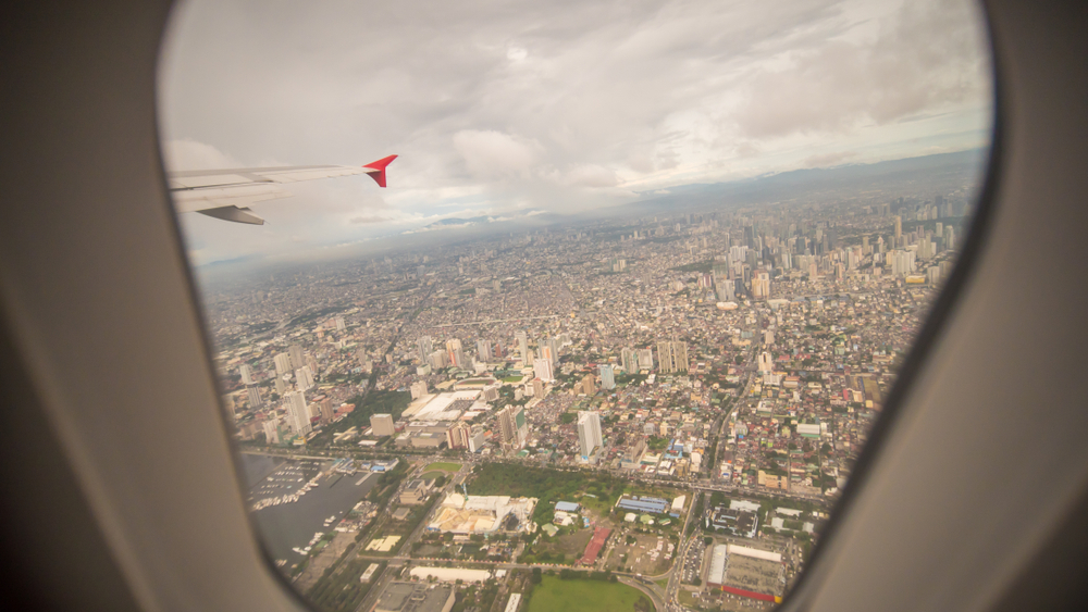 View of Manila from a window seat inside a plane