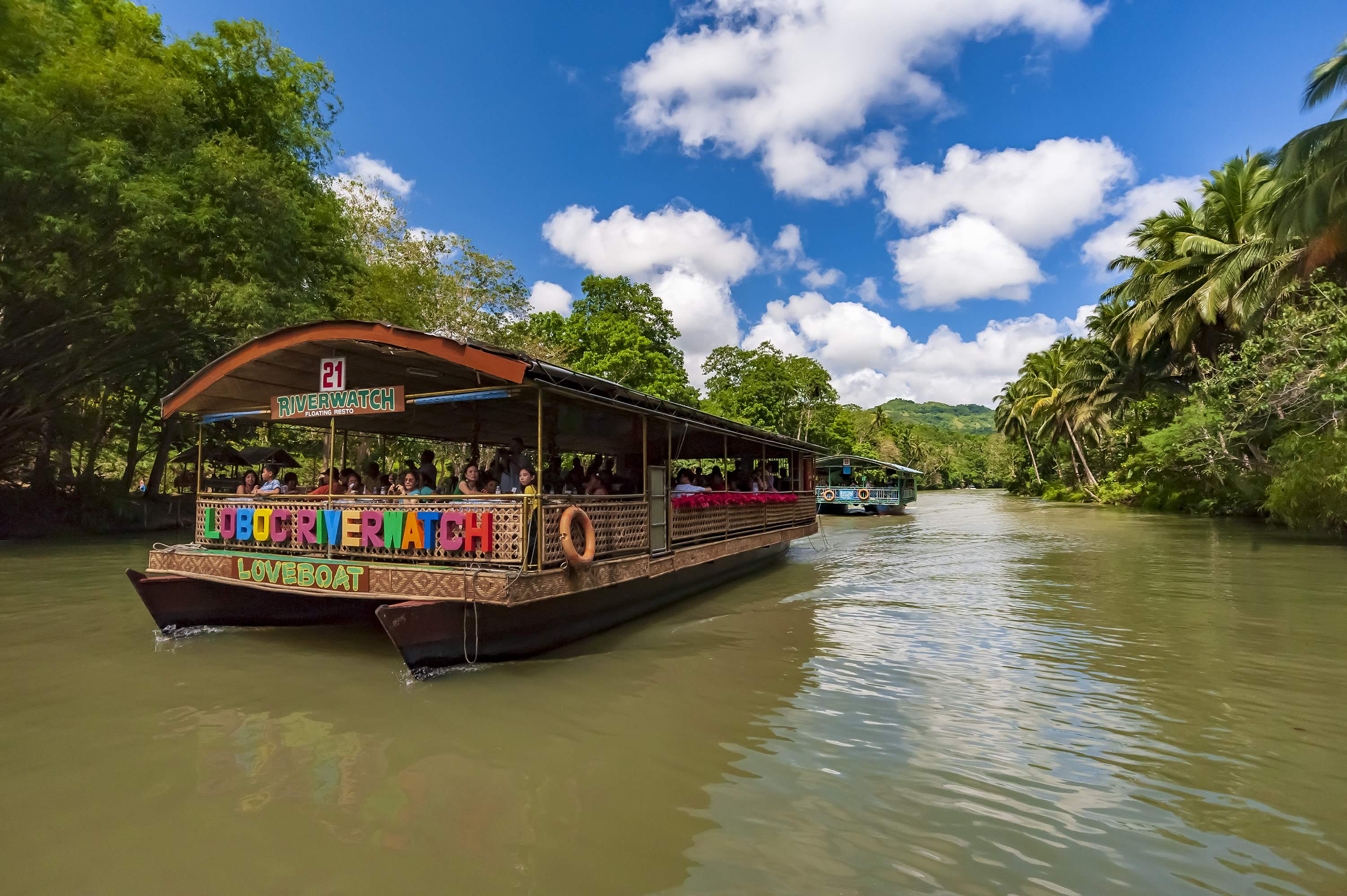Colorful boat during the Loboc River cruise