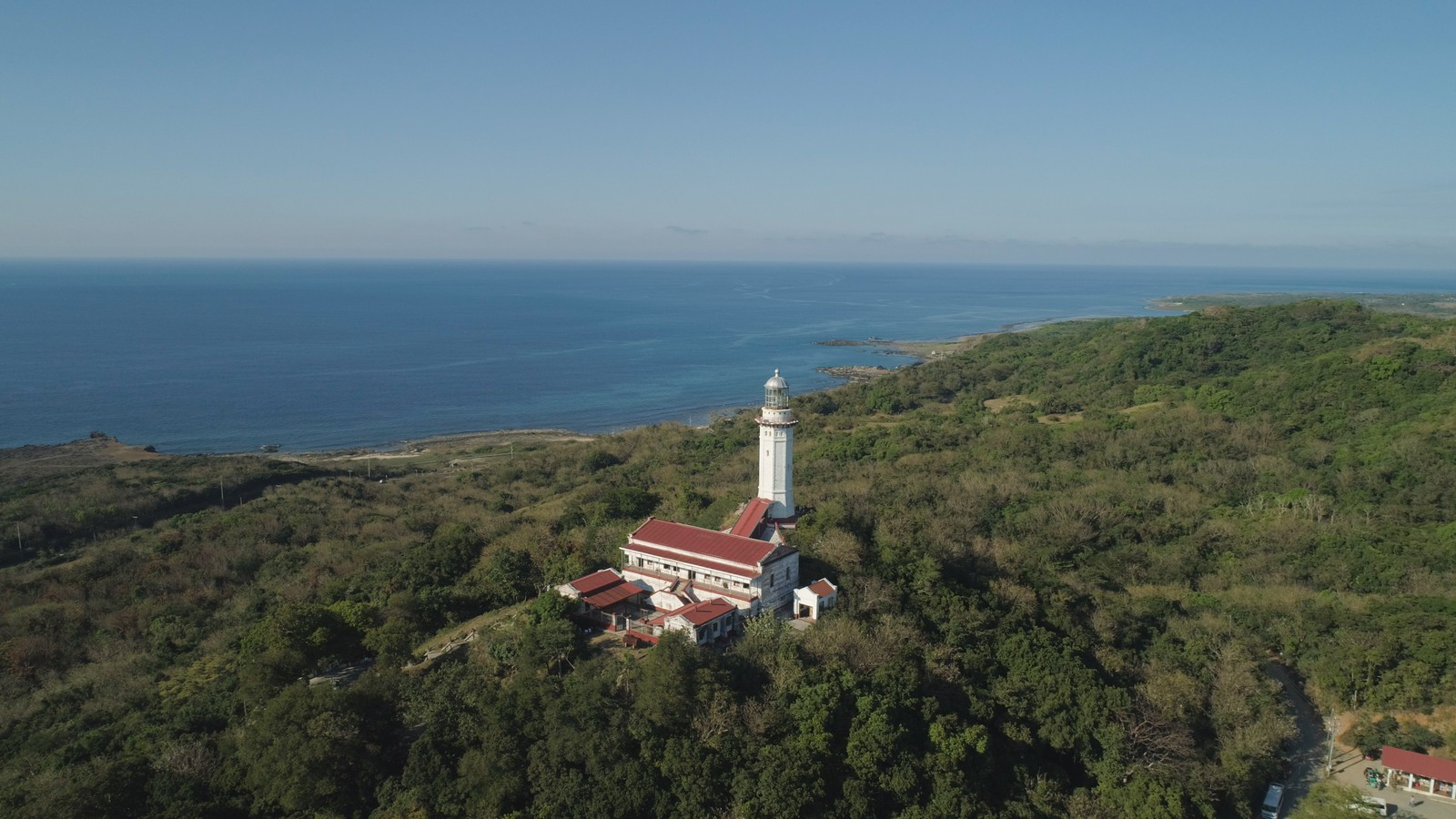 Cape Bojeador Lighthouse aerial view in Laoag