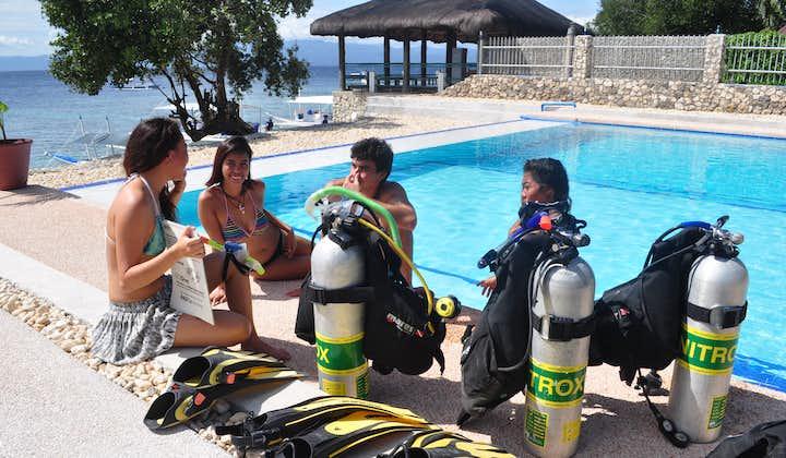 Oxygen tanks by the pool at Cebu Seaview Dive Resort