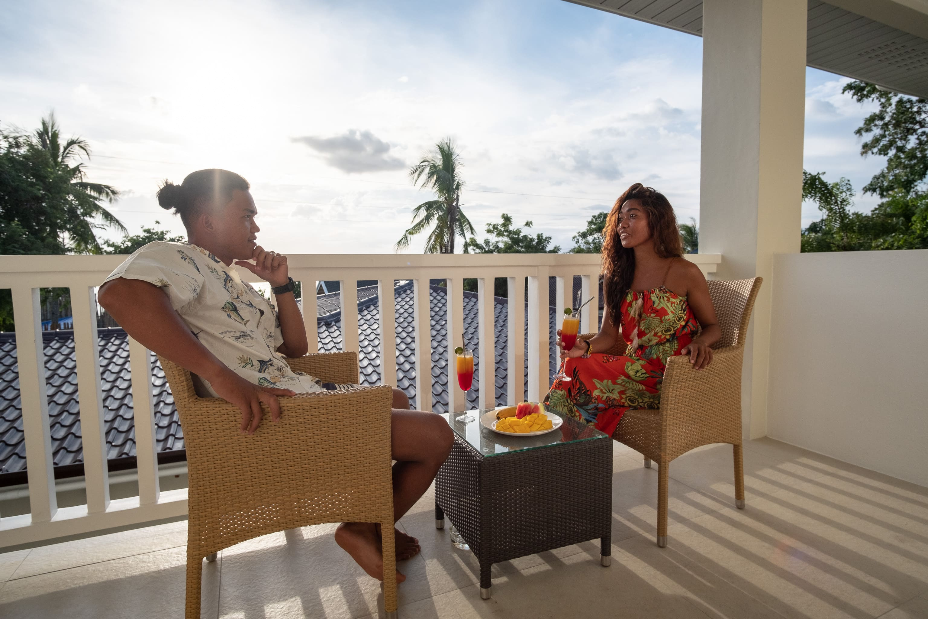 Eating breakfast at the balcony of a room in Cebu Seaview Dive resort