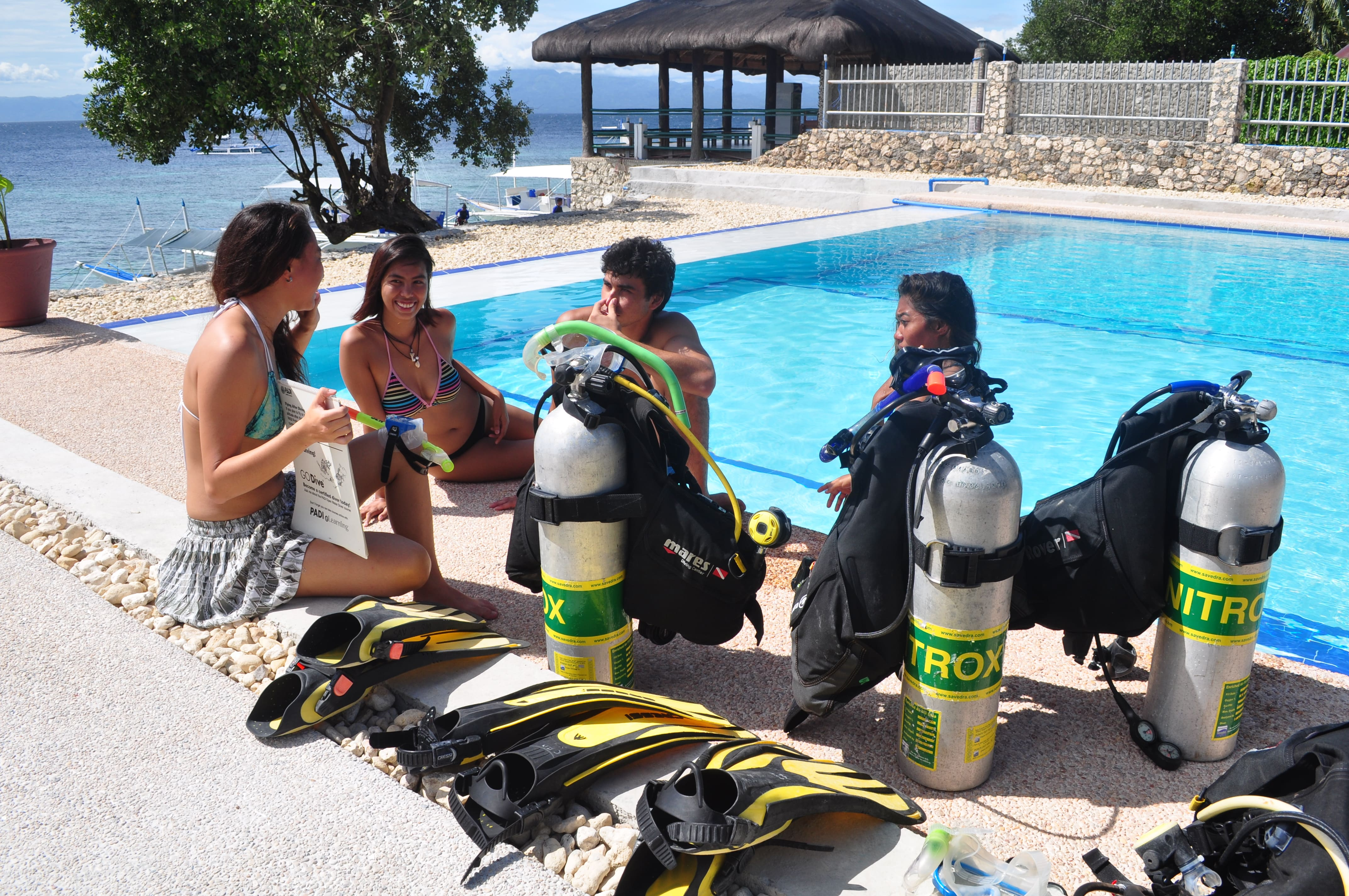 Lecture session by an instructor from Cebu Seaview Dive Resort