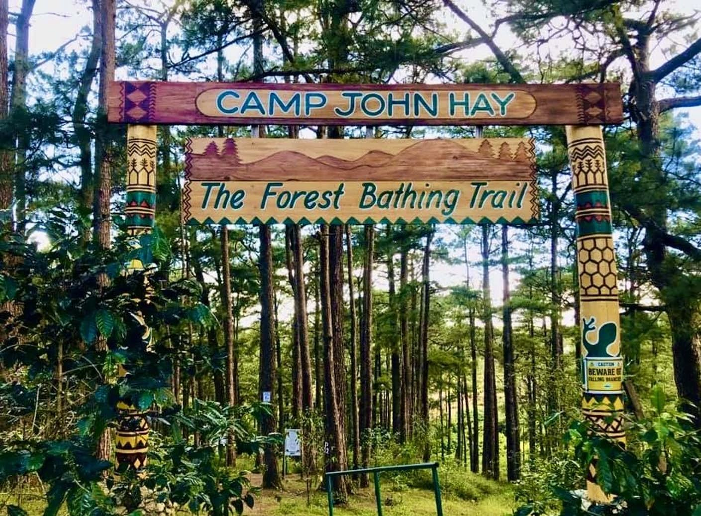 Welcome signage of the forest bathing trail in Camp John Hay