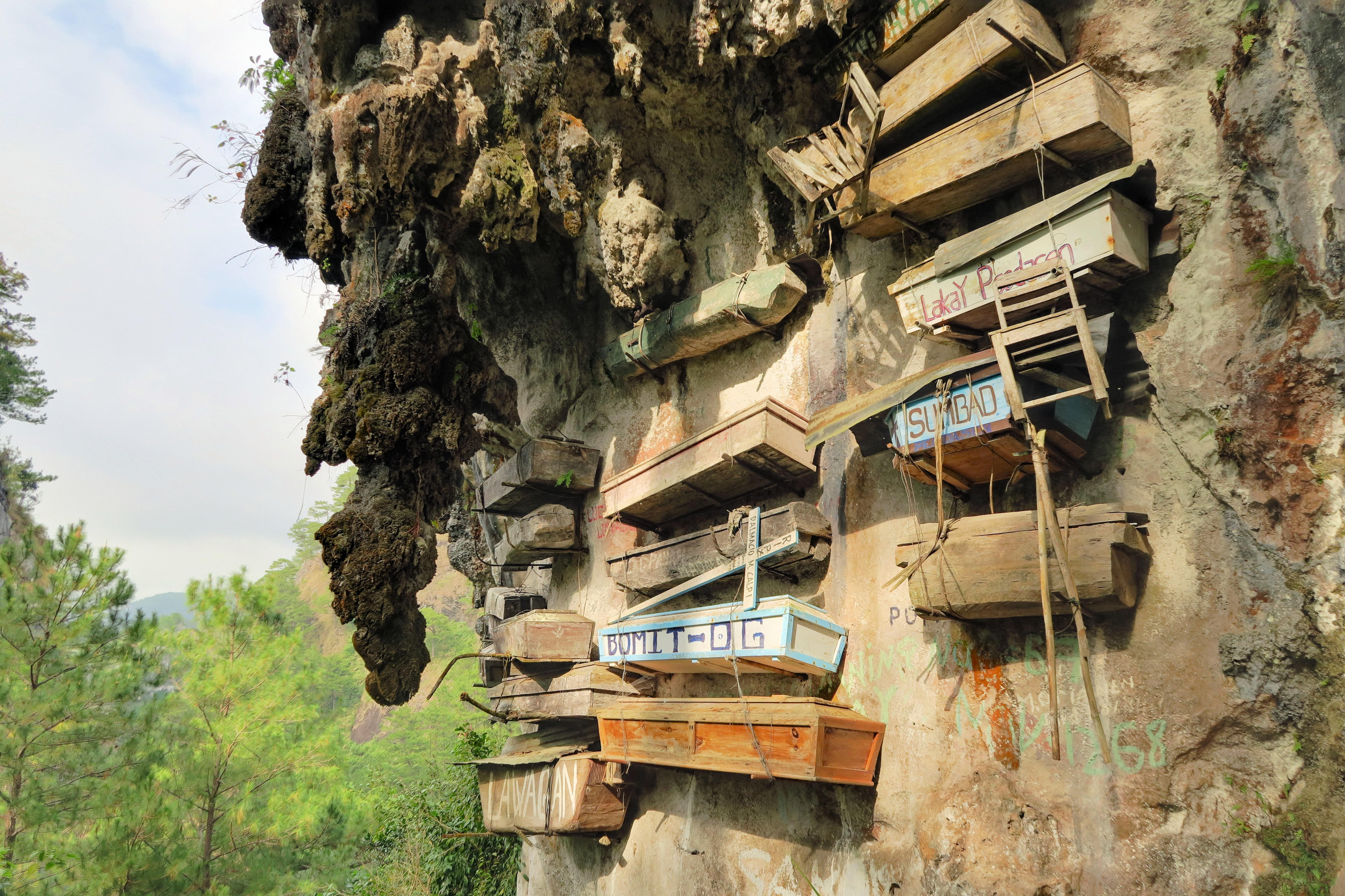 Hanging coffins outside a cave in Sagada
