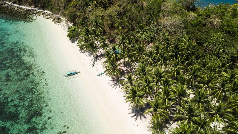 Aerial view of the white sand beach in Port Barton Palawan