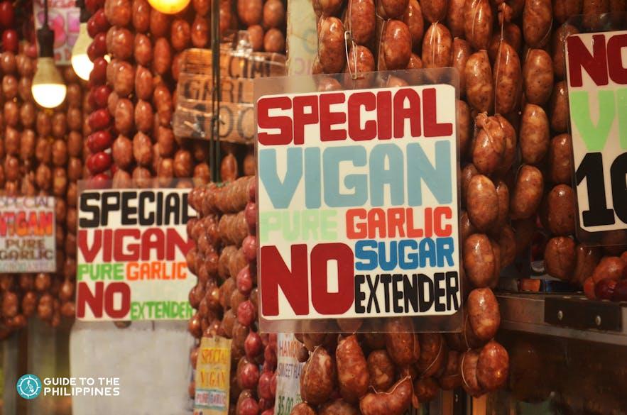 Vigan longganisa sold in a market in Ilocos Sur