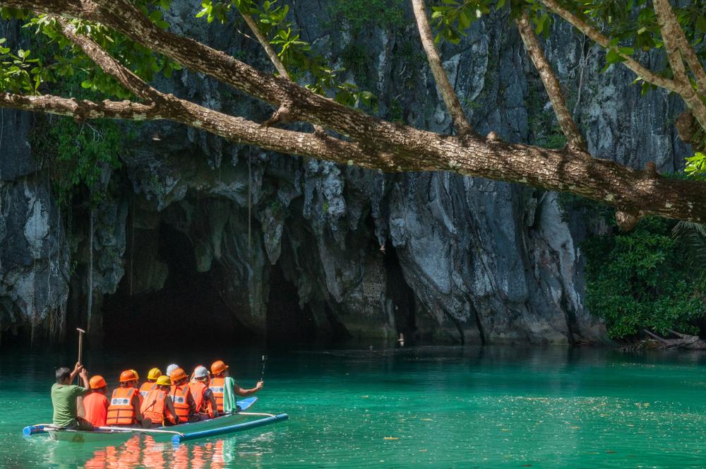 Tourists during a Puerto Princesa Underground River tour