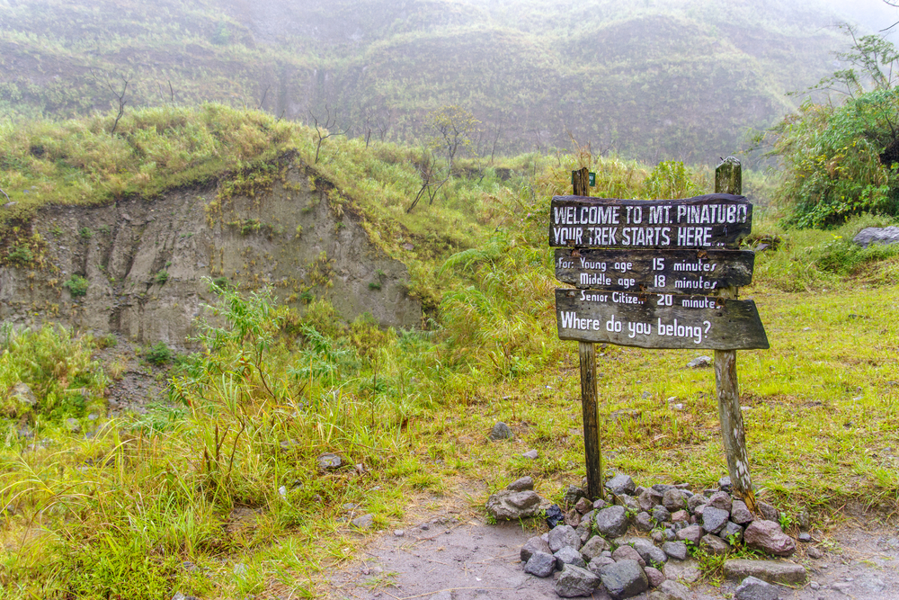 Signage of entrance site in Mt. Pinatubo