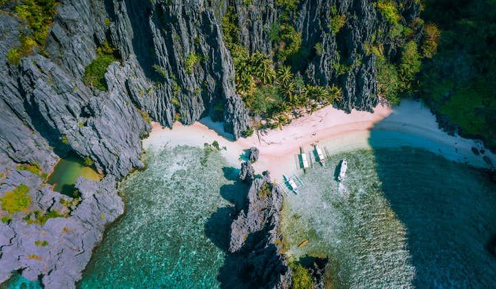 Aerial view of Secret Lagoon in Palawan