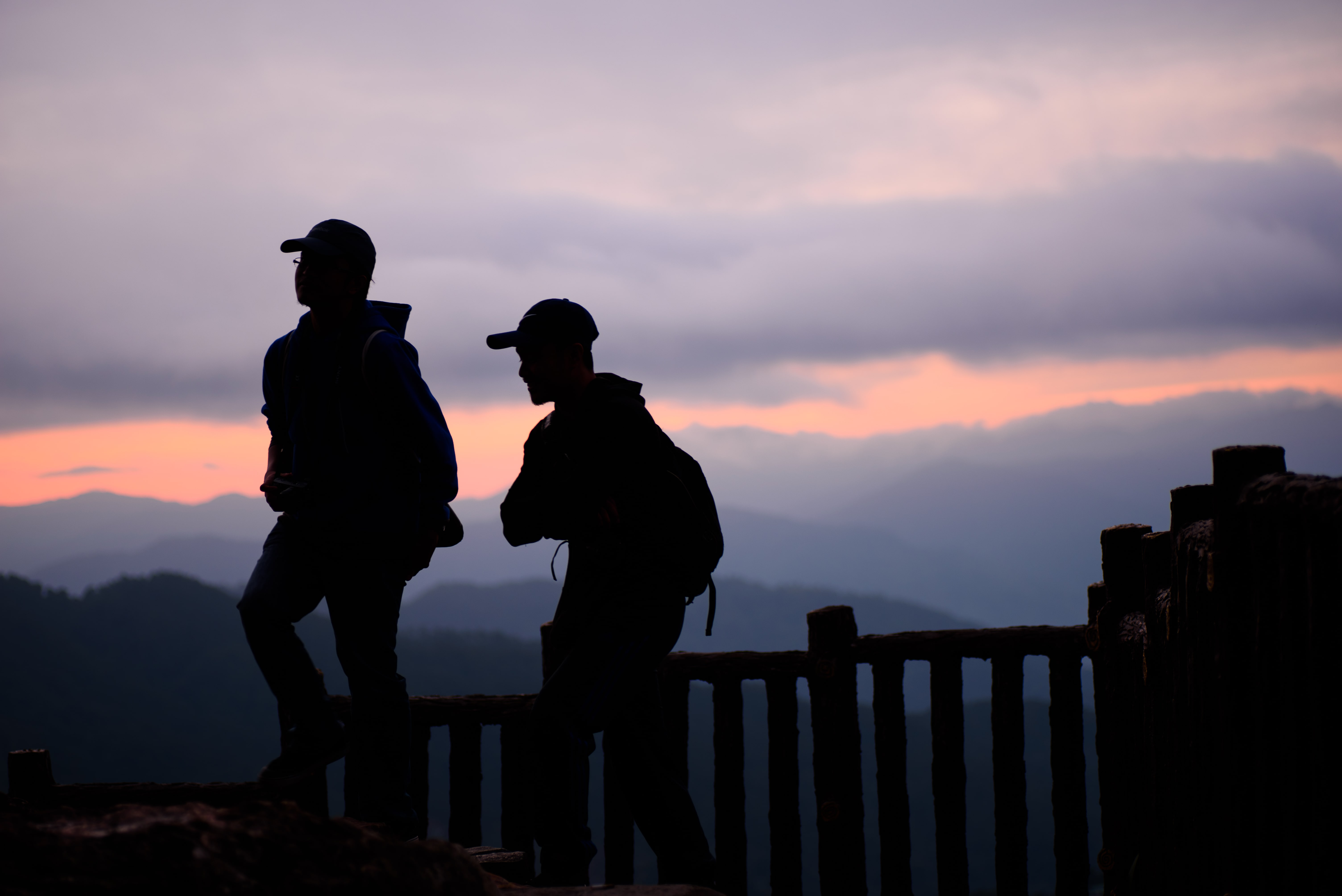 Two people waiting for the sunrise in Mines View Park in Baguio