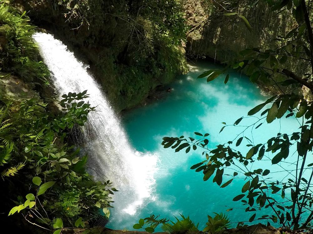 Gatorade blue waters of Kawasan Falls in Cebu
