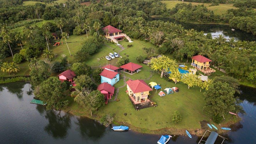 Aerial view of Lake Caliraya in Laguna