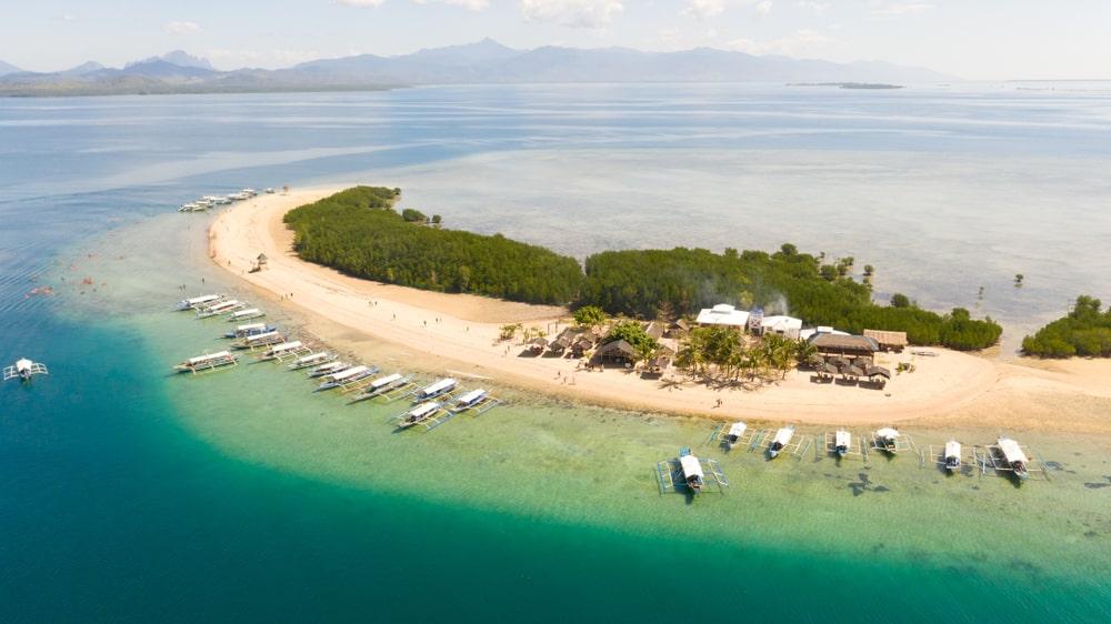 Aerial view of Starfish Island in Palawan