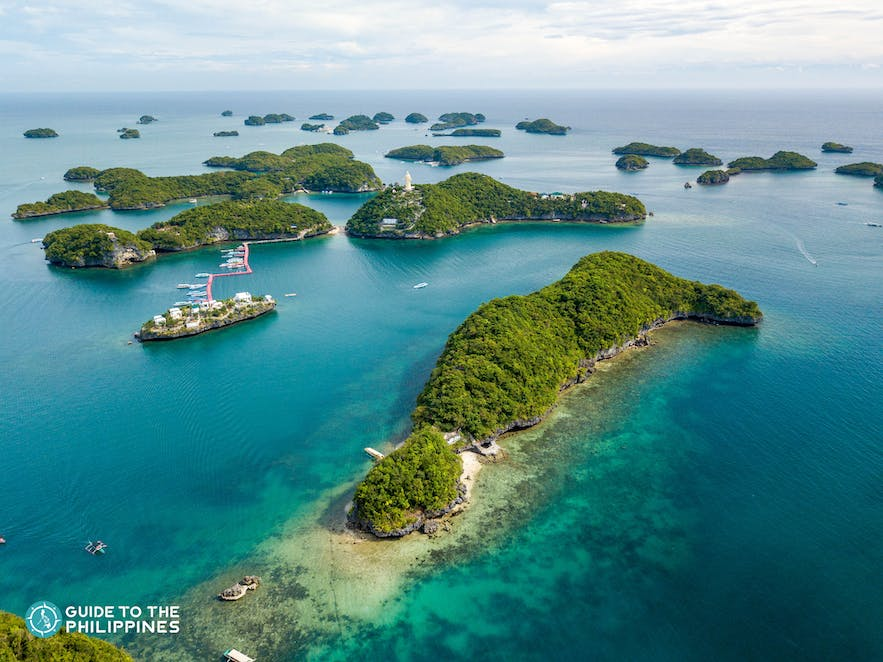 Aerial view of the Hundred Islands in Pangasinan