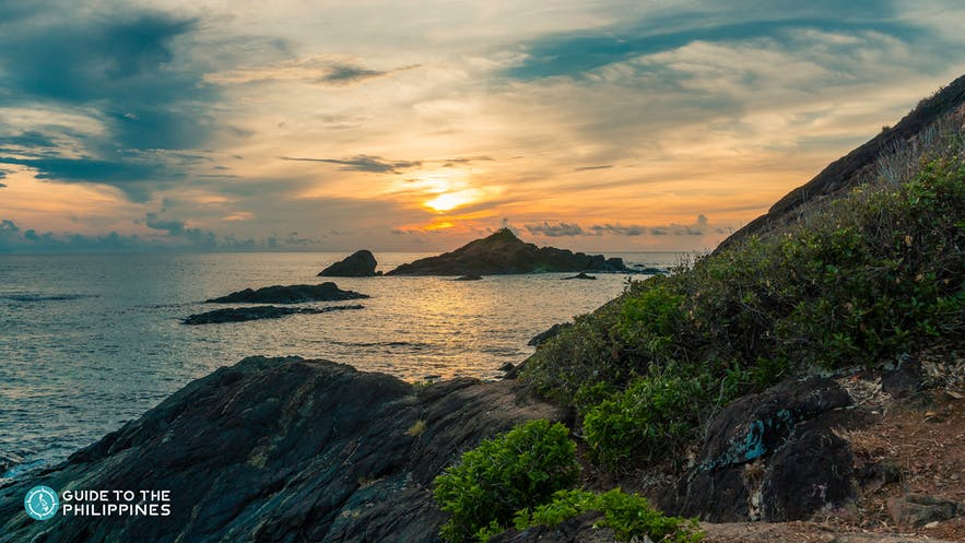 Sunset on Jomalig Island in Quezon Province