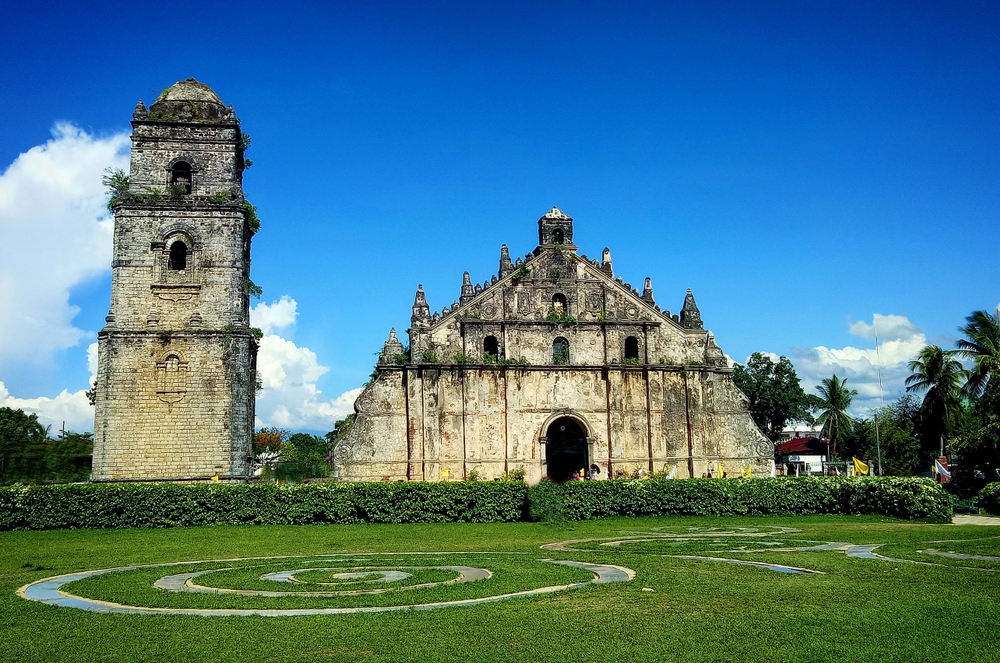 Clear blue skies in Paoay Church in Laoag