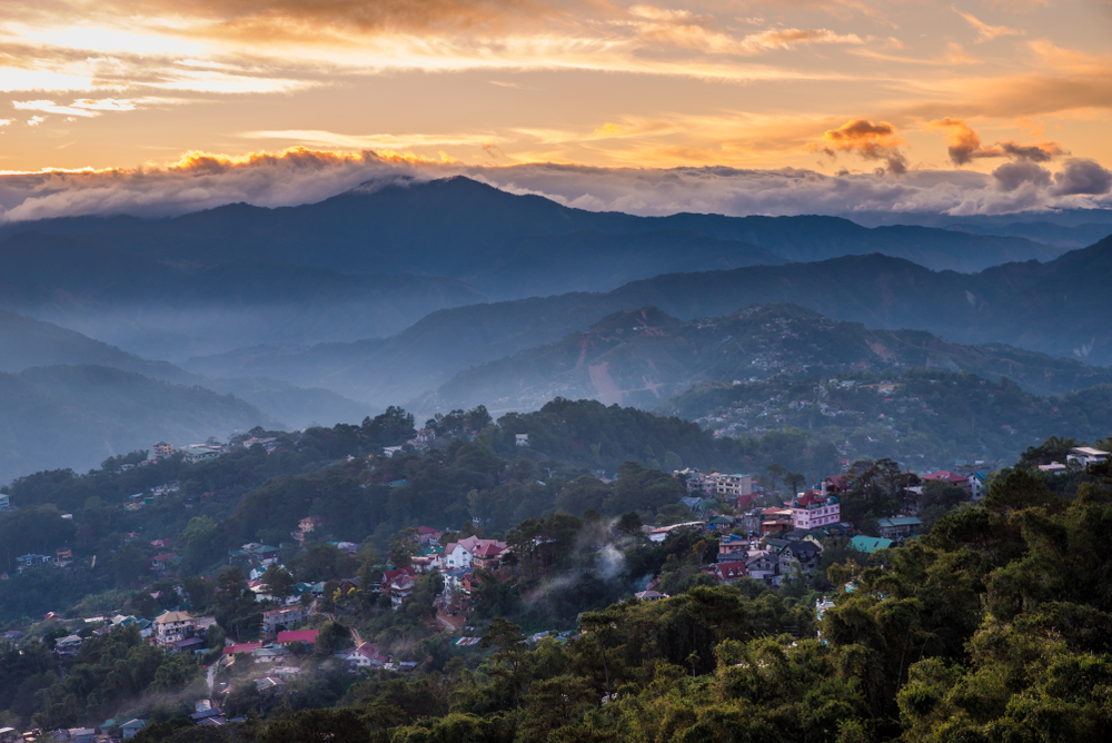 Sunset over Mines View Park in Baguio City
