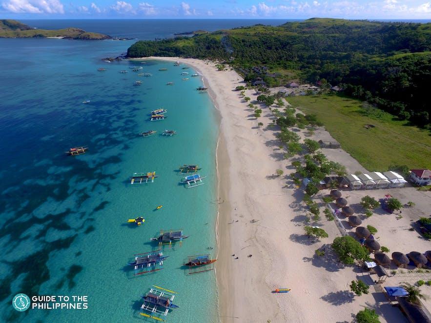 Aerial view of Calaguas Island's shoreline